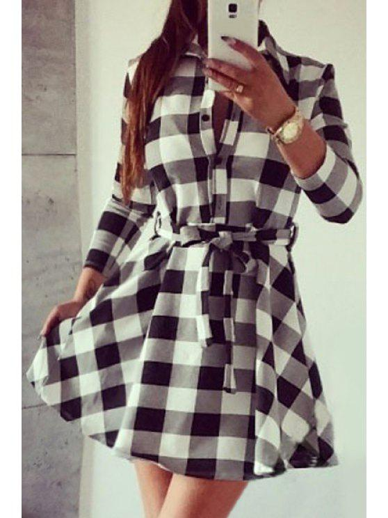 affordable Checked Waisted Flat Neck 3/4 Sleeves Shirt Dress - WHITE S