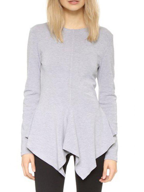 women Solid Color Irregular Hem Long Sleeves Dress - GRAY L