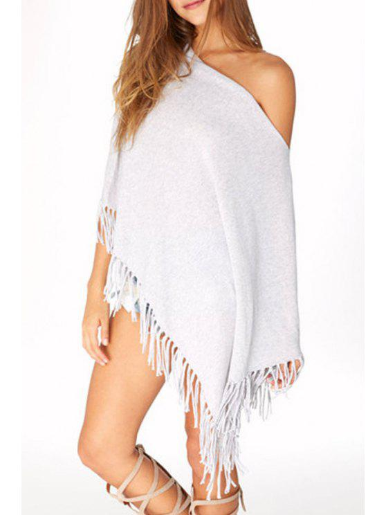Batwing Sleeve Fringed Irregular Fall Top - Gris Clair S