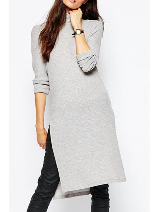 sale Solid Color Side Slit Turtle Neck Sweater Dress - GRAY XL