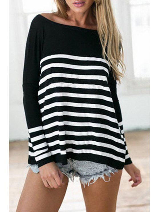 outfit Round Collar Long Sleeve Striped T-Shirt - BLACK XL