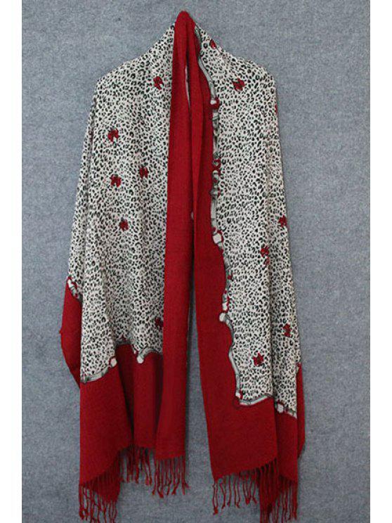 hot Leopard Print Tassel Pashmina - RED