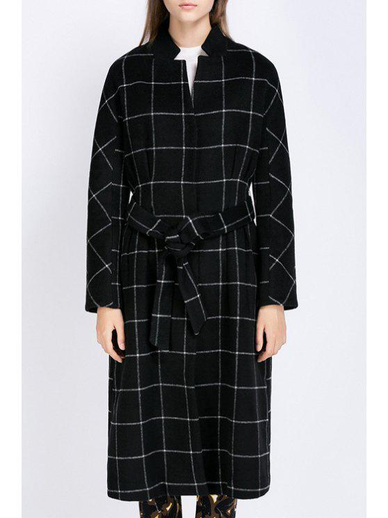 best Waisted Plaid Stand Collar Long Sleeves Coat - BLACK L