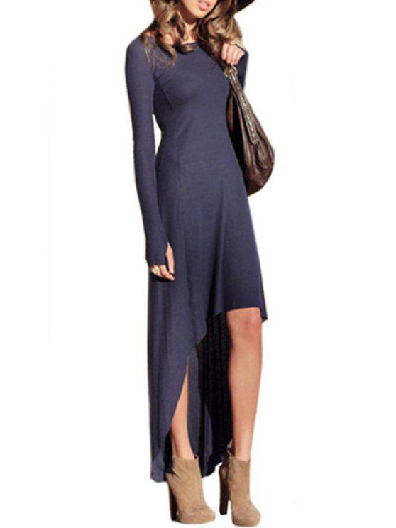 hot Long Sleeve Solid Color Asymmetrical Dress - PURPLE S
