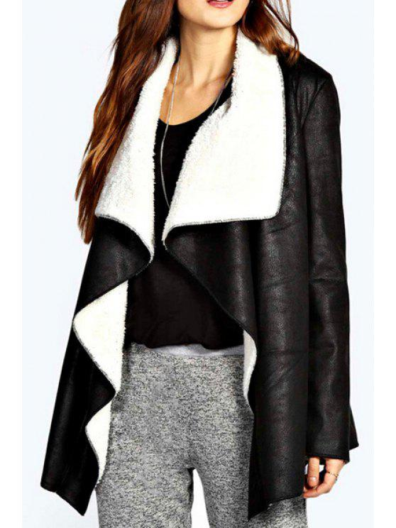 womens Fleece Lining Irregular Hem PU Leather Jacket - BLACK S