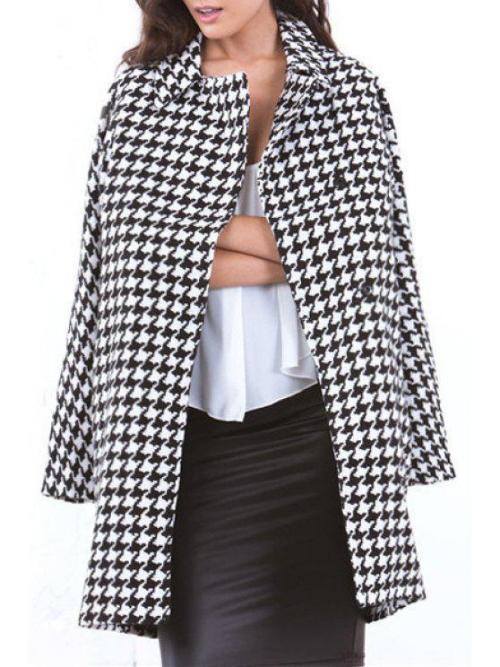 women Lapel Pocket Design Houndstooth Coat - WHITE XL
