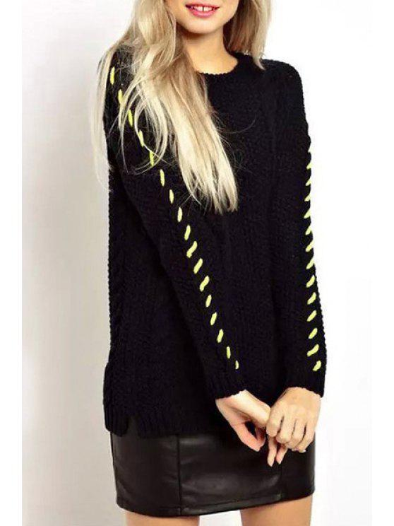 shop Long Sleeves Loose Fitting Round Collar Sweater - BLACK L