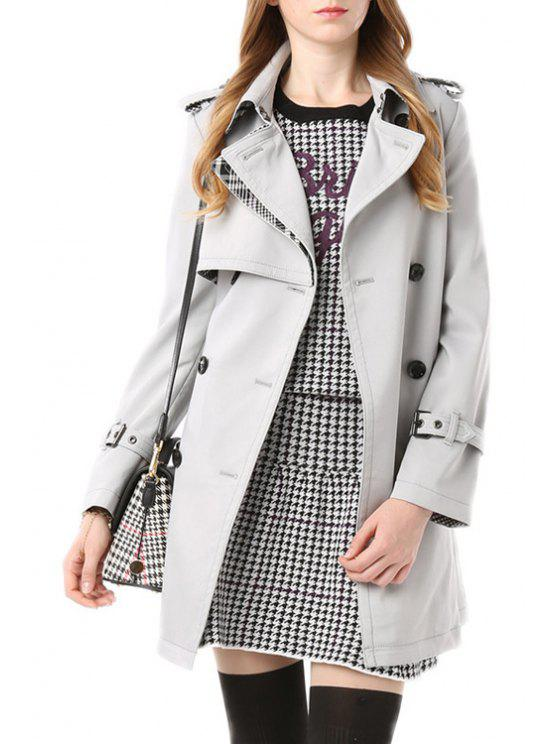 outfit Fashion Turn-Down Collar Long Sleeves Solid Color Women's Trench Coat - LIGHT GRAY L