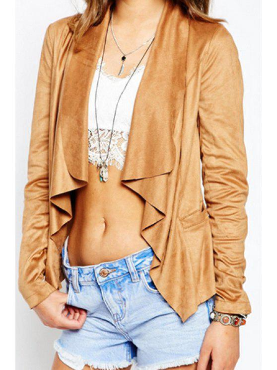 women Solid Color Faux Suede Waterfall Jacket - KHAKI L