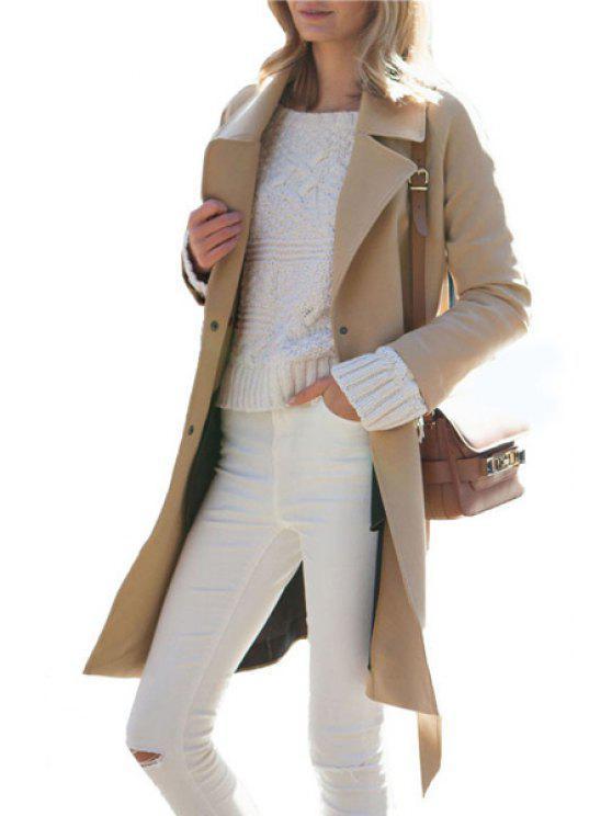 best Lapel Single-Breasted Wool Coat - KHAKI XL