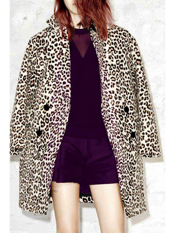 outfit Leopard Pattern Turn-Down Collar Long Sleeves Coat - LEOPARD XS