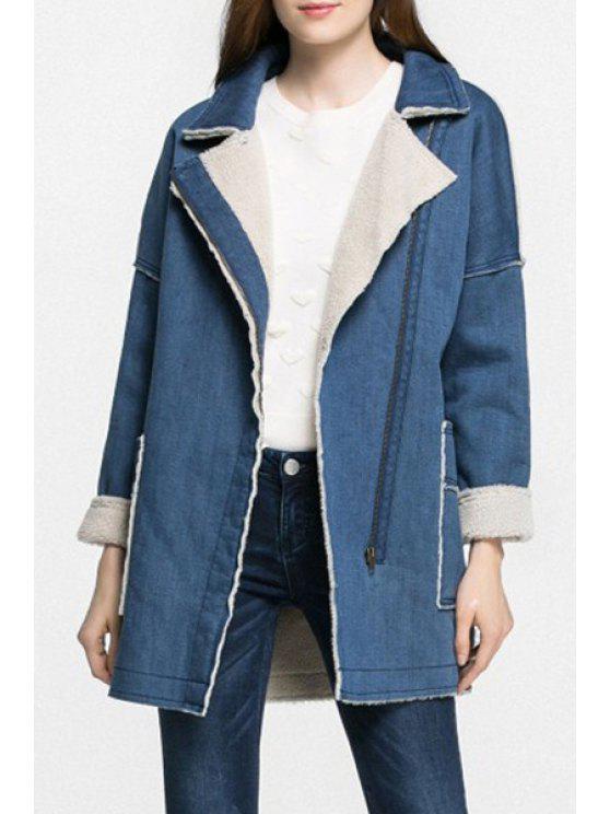 women's Solid Color Denim Turn-Down Collar Padded Coat - BLUE M