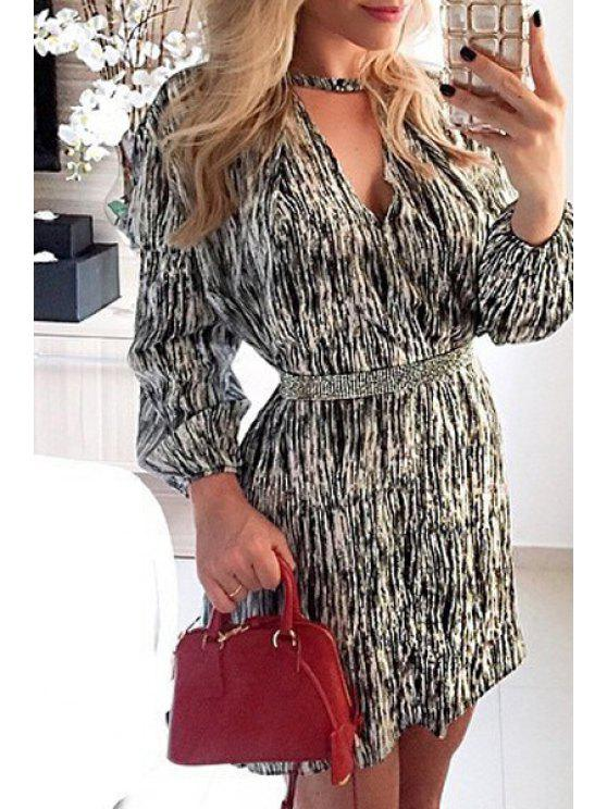 unique V-Neck 3/4 Sleeve Printed Tunic Dress - WHITE AND BLACK S
