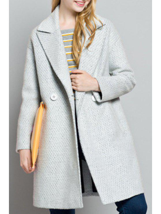 online Pockets Solid Color Turn-Down Collar Woolen Coat - GRAY L
