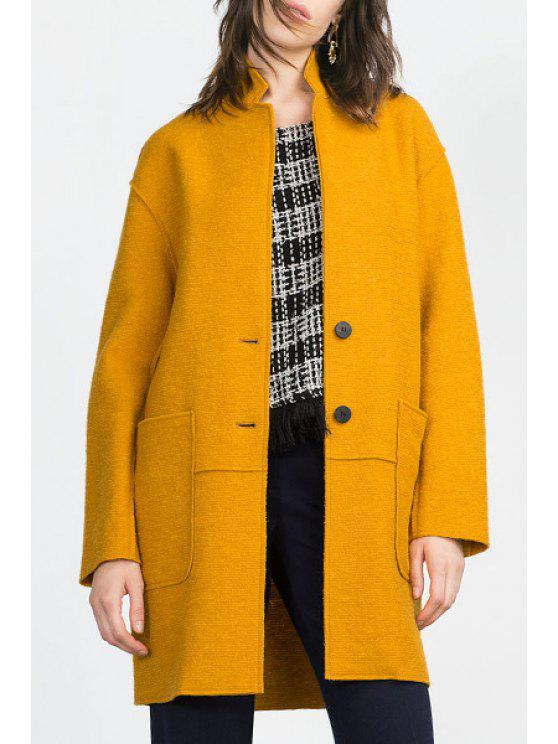 best Solid Color Pockets Stand Collar Long Sleeves Woolen Coat - YELLOW M