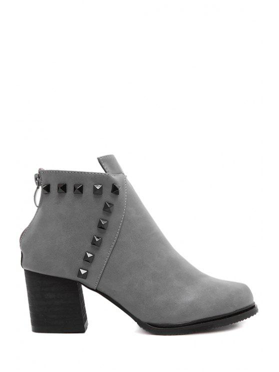 women Rivet Solid Color Chunky Heel Ankle Boots - GRAY 35