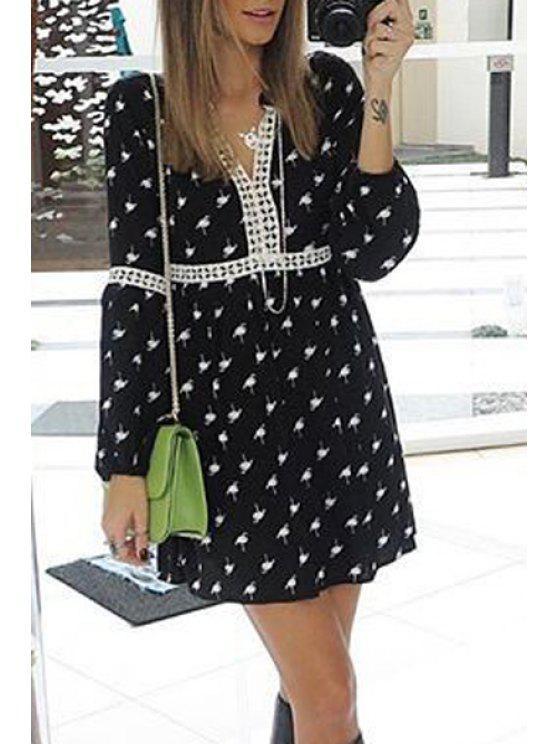 ladies Long Sleeve Printed Black Dress - BLACK S