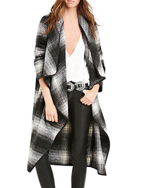 sale Plaid Turn-Down Collar Long Sleeves Coat - GRAY S