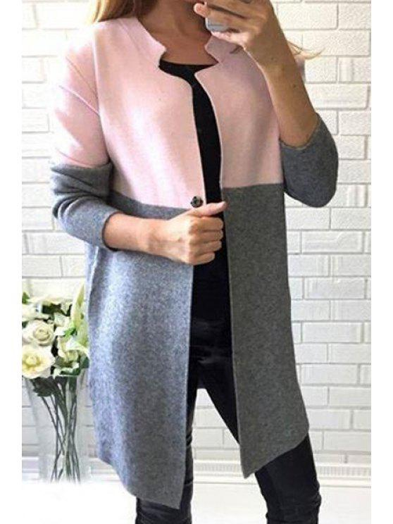 affordable Notched Long Sleeve Color Block Coat - PINK M