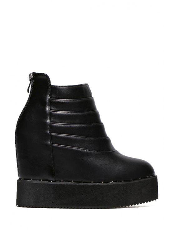 chic Hidden Wedge Platform Black Short Boots - BLACK 35