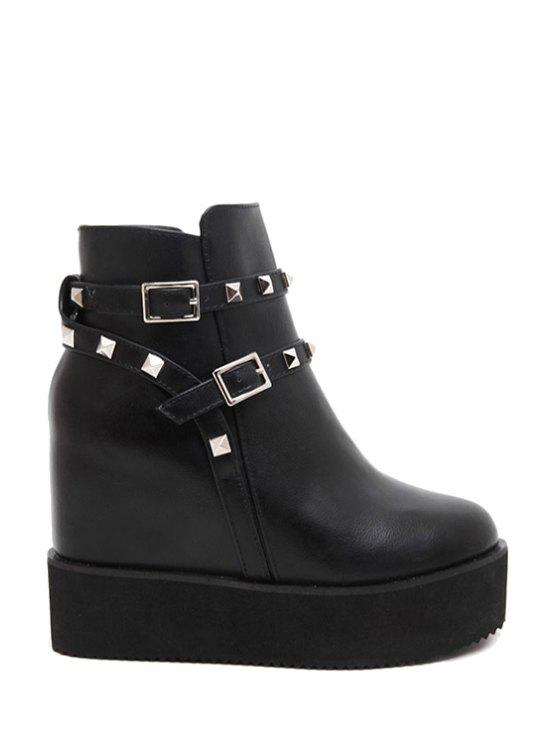 new Rivet Buckles Hidden Wedge Short Boots - BLACK 38