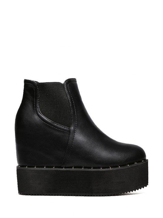 chic Elastic Hidden Wedge Black Short Boots - BLACK 35