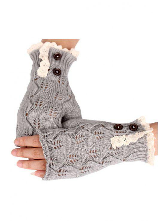 womens Lace Button Hollow Out Knitted Fingerless Gloves - LIGHT GRAY