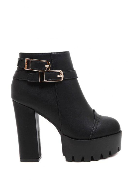 shops Buckles Platform Black High Heel Boots - BLACK 34