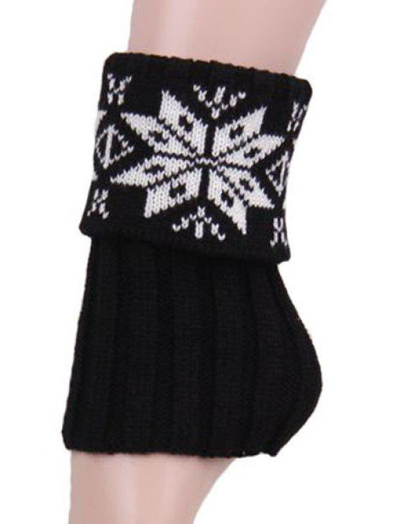 outfits Christmas Snowflake Knitted Boot Cuffs - BLACK