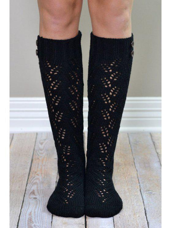 trendy Button Hollow Out Knitted Stockings - BLACK