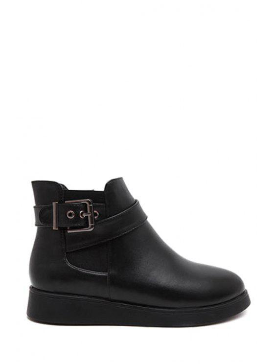 fashion Buckle Elastic Black Short Boots - BLACK 35