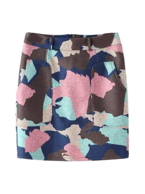 women's Printed Color Block Mini Skirt - COLORMIX S