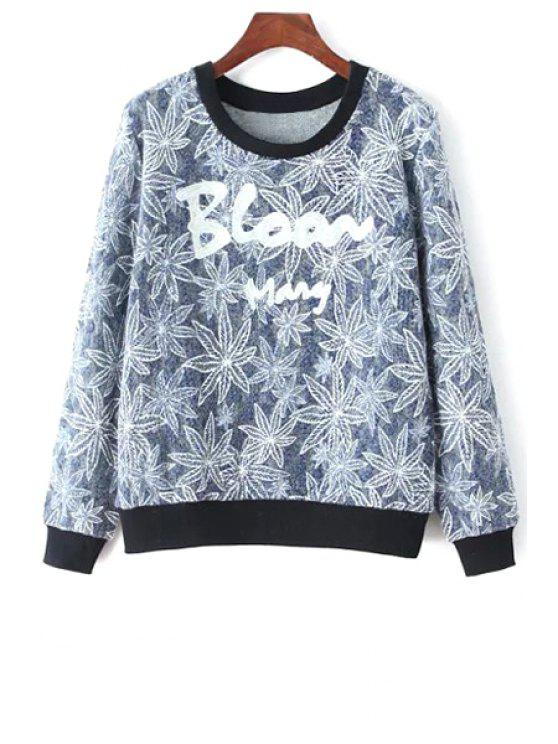 online Letter and Leaves Print Round Collar Sweatshirt - GRAY ONE SIZE(FIT SIZE XS TO M)