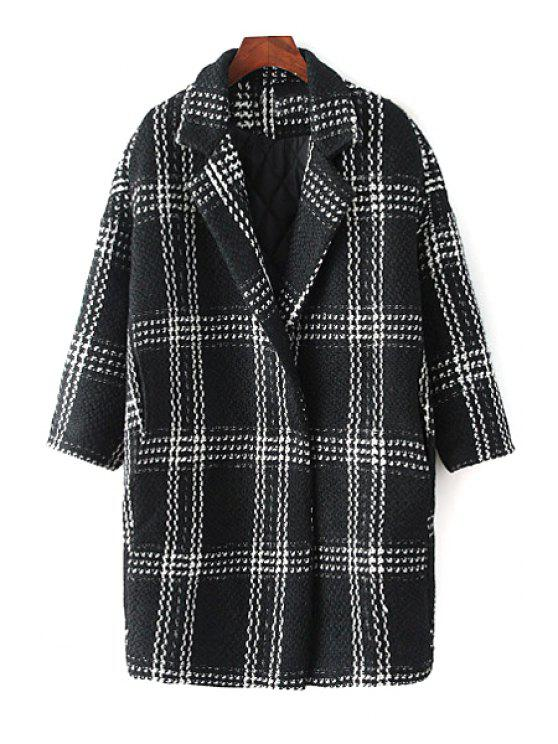 lady Checked Print Turn-Down Collar Long Sleeves Coat - BLACK M