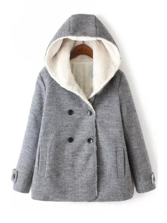 womens Hooded Fleece Lining Double-Breasted Coat - GRAY S