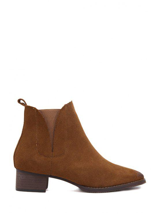 new Suede Solid Color Low Heel Short Boots - BROWN 38