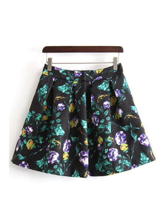 chic A-Line Floral Print Ruffled Skirt - BLACK S