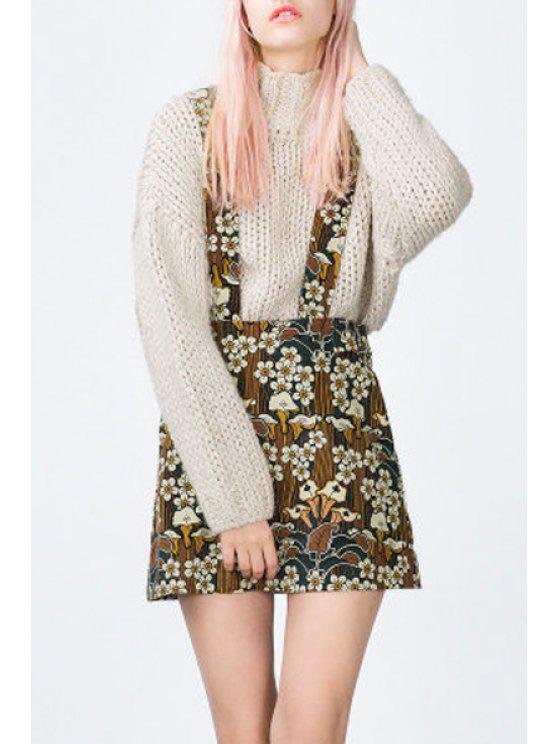 fancy Floral Print Straps Skirt - BROWN XS