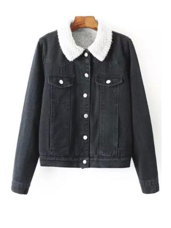 online Single-Breasted Fleece Lining Denim Jacket - BLACK S