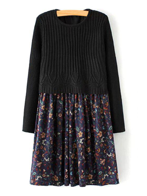 new Tiny Floral Print Round Collar Sweater Spliced Dress - BLACK ONE SIZE(FIT SIZE XS TO M)