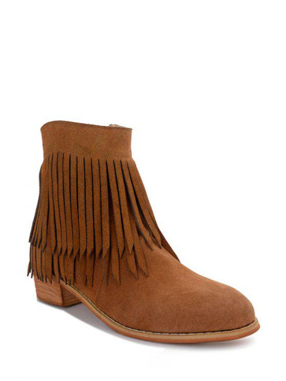 outfit Suede Fringe Low Heel Short Boots - BROWN 35