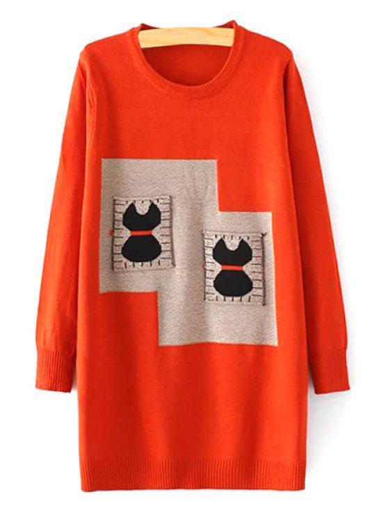 latest Cartoon Print Pockets Round Collar Long Sleeves Sweater - ORANGE M