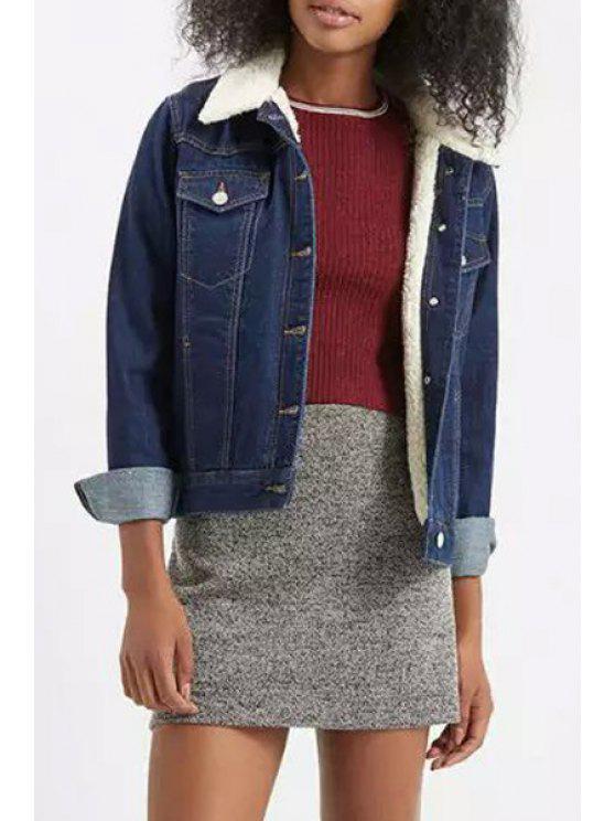 shops Denim Turn Down Collar Long Sleeve Jacket - BLUE S