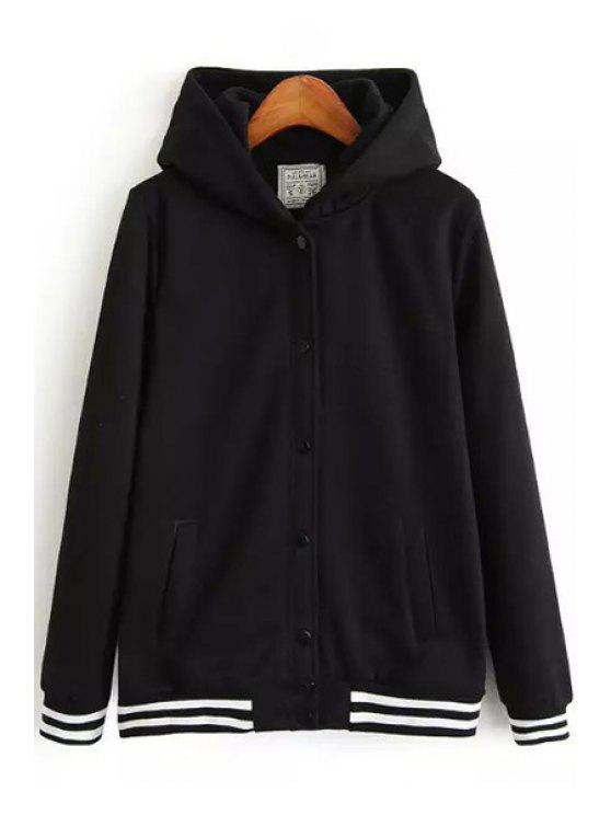 shops Striped Long Sleeve Zip Up Hoodie - BLACK S