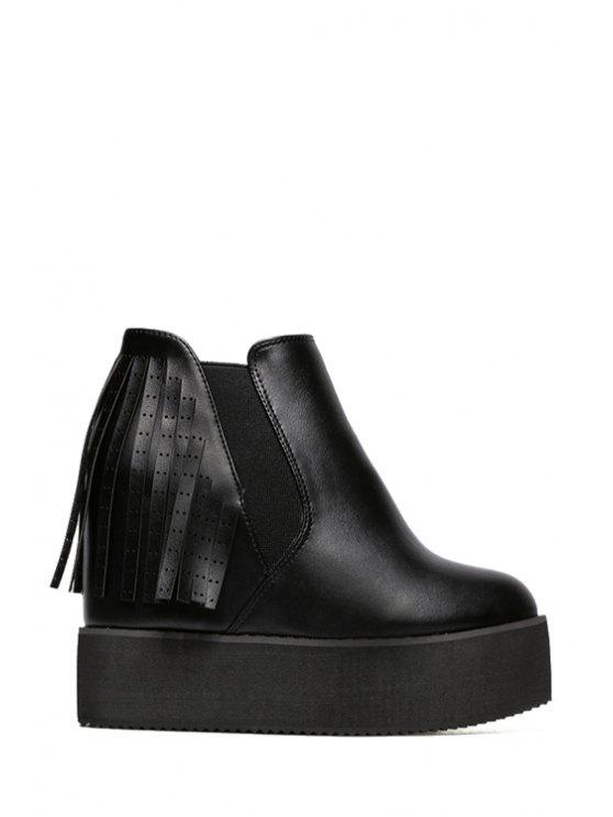 chic Elastic Fringe Hidden Wedge Short Boots - BLACK 34