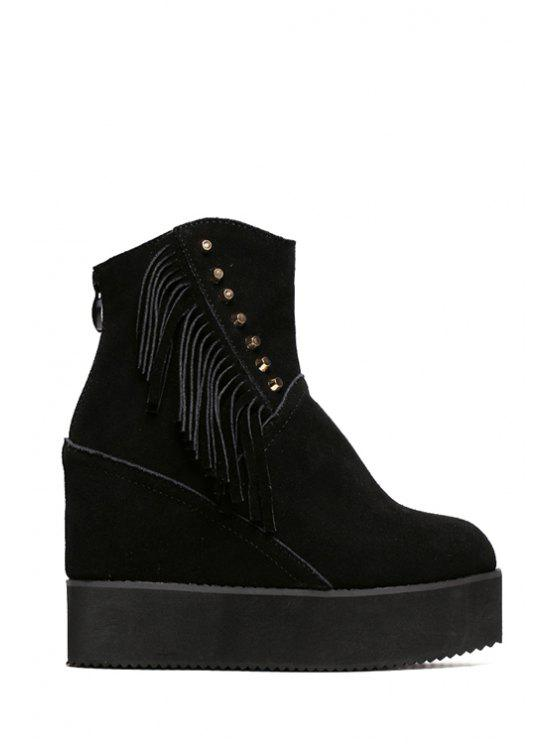 shop Rivet Fringe Hidden Wedge Short Boots - BLACK 34