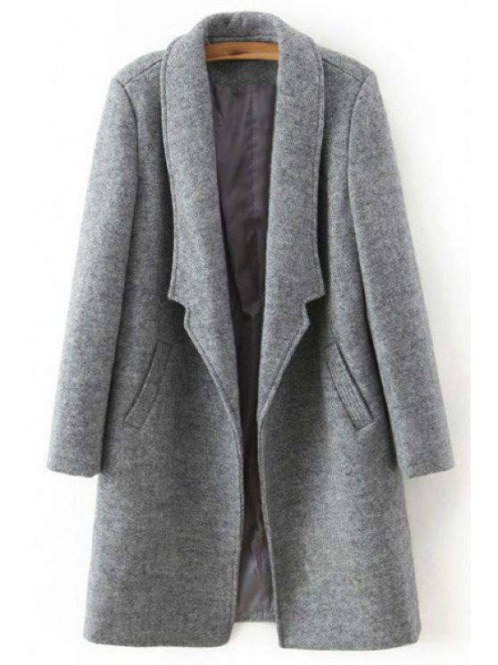 hot Pure Color Turn Down Collar Long Sleeve Coat - LIGHT GRAY S