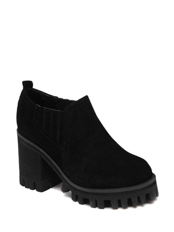 new Chunky Heel Elastic Suede Ankle Boots - BLACK 34