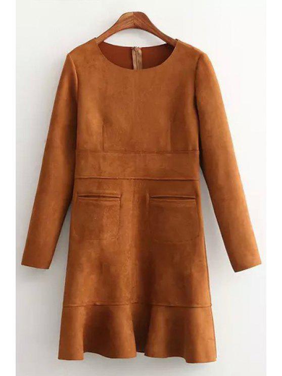 shops Ruffles Spliced Long Sleeve Faux Suede Dress - DARK KHAKI S