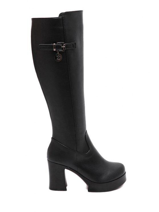 62dd93f2308 36% OFF  2019 Buckle Platform Chunky Heel Mid-Calf Boots In BLACK ...